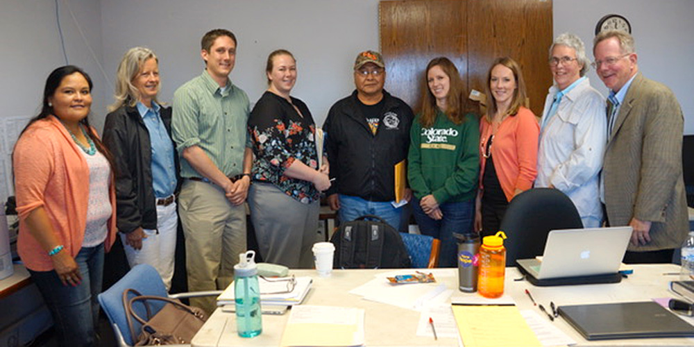 Ramah probate specialist Michelle Begay, supervising attorney Elisa Ard, students Robert Montgomery and Alyssa Miller, Ramah Chapter President David Jose, student Kelsey Hall, newly admitted attorney Erin Schenk, Prof. Lucy Marsh, and Justice Greg Hobbs
